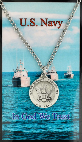 Round St. Michael Navy Medal with Prayer Card - Silver tone