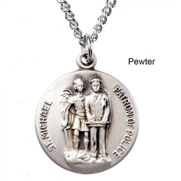 "Round St. Michael of Police Dime Size Medal + 18"" Chain - Pewter"