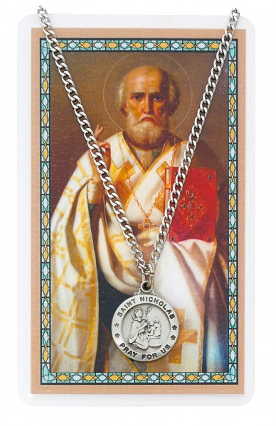 Round St. Nicholas Medal with Prayer Card - Silver tone