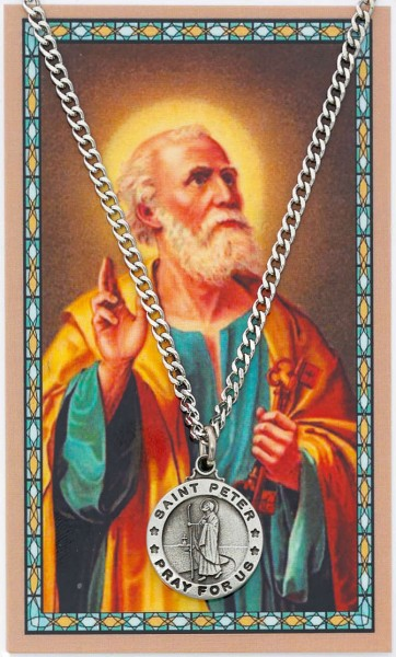 Round St. Peter Medal with Prayer Card - Silver tone