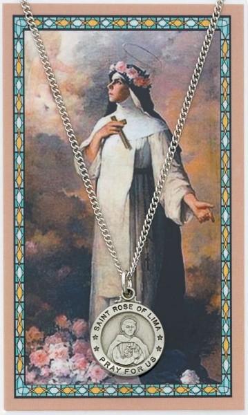 Round St. Rose of Lima Medal with Prayer Card - Silver tone