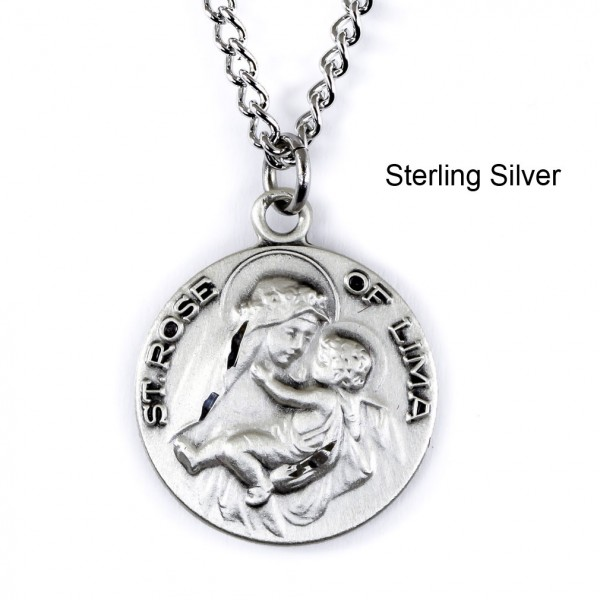 "Round St. Rose of Lima Dime Size Medal + 18"" Chain - Sterling Silver"