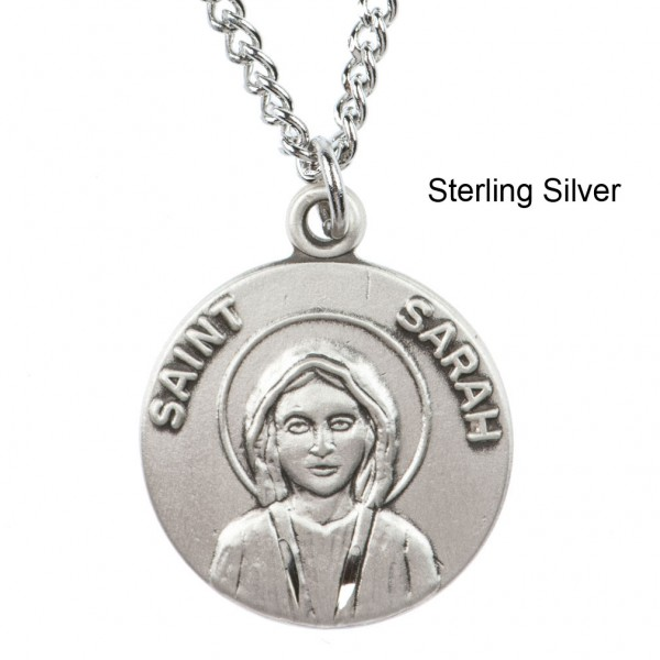 "Round St. Sarah Dime Size Medal + 18"" Chain - Sterling Silver"