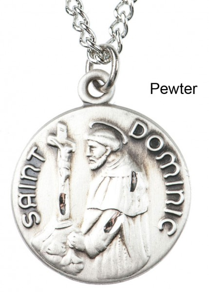 "Round St. St. Dominic Dime Size Medal + 18"" Chain - Pewter"
