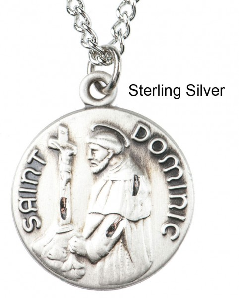 "Round St. St. Dominic Dime Size Medal + 18"" Chain - Sterling Silver"