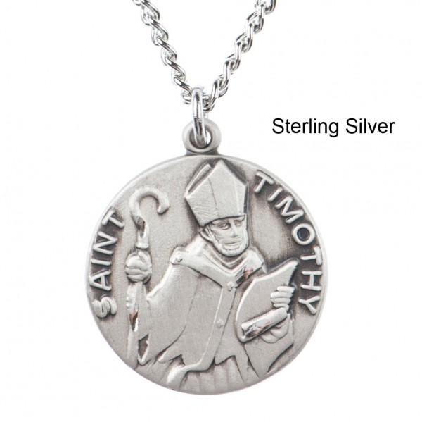 "Round St. Timothy Dime Size Medal + 18"" Chain - Sterling Silver"