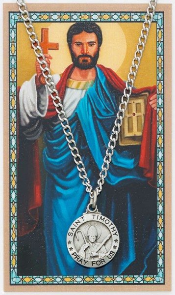 Round St. Timothy Medal with Prayer Card - Silver tone