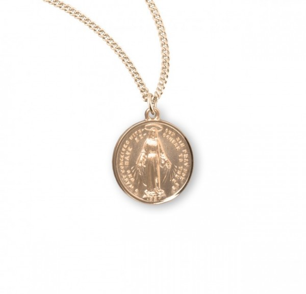 Round Sterling Silver Miraculous Medal with Chain - Gold Plated