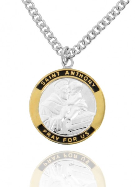 Round Two-Tone Sterling Silver Saint Anthony Medal - Two-Tone Silver