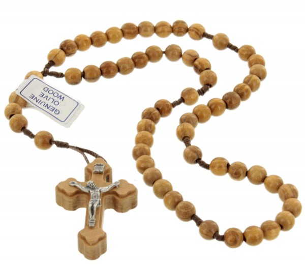 Rustic Olive Wood Rosary - Brown