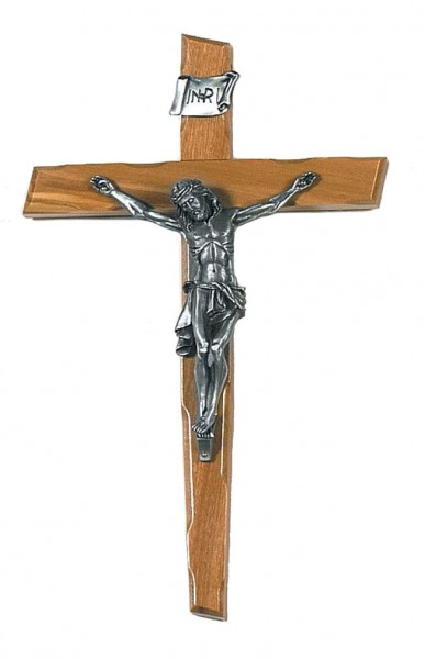 "Rustic Olive Wood Wall Crucifix with Pewter Corpus 9.5"" - Brown"