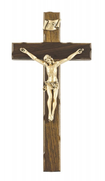 "Rustic Wall Crucifix in Walnut with Gold Tone Finish Corpus 12"" - Brown"