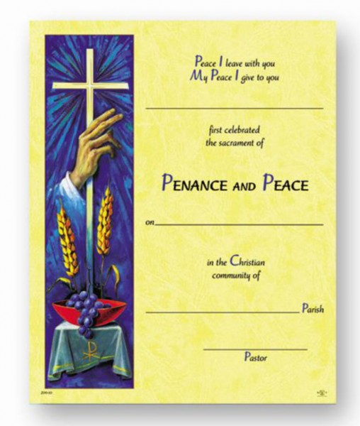 Sacrament of Penance Certificate - Full Color