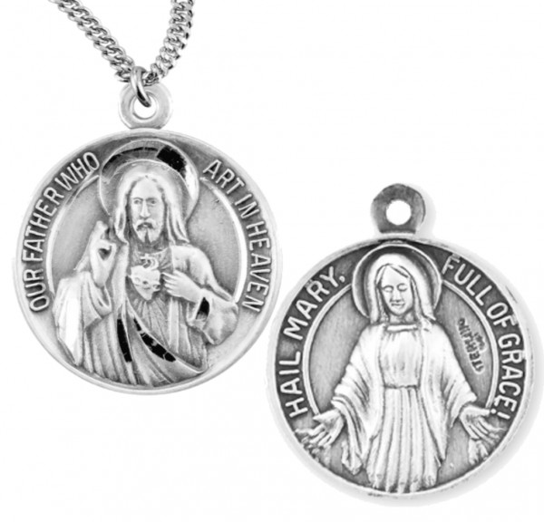 Sterling Silver Sacred Heart of Jesus and Blessed Mary Medal - Sterling Silver