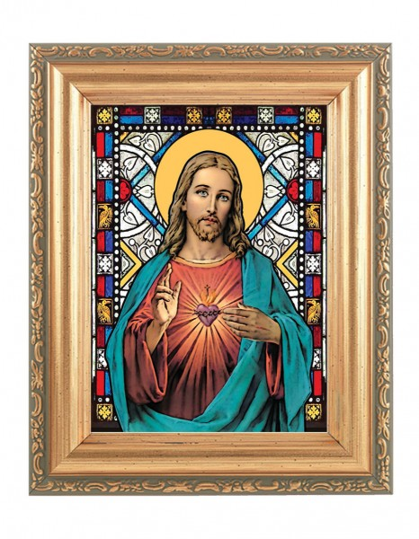 Sacred Heart of Jesus Gold Frame Stained Glass Effect - Full Color