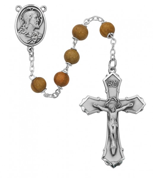 Sacred Heart Silver Oxidized Rosary - Brown