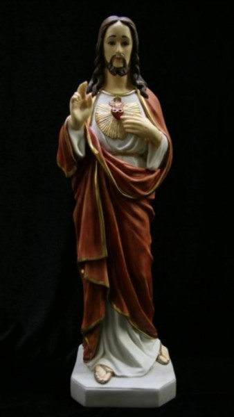 Sacred Heart Statue Hand Painted - 20 inch - Full Color