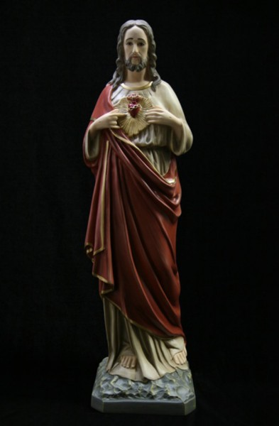 Sacred Heart Statue Hand Painted - 25 inch - Full Color