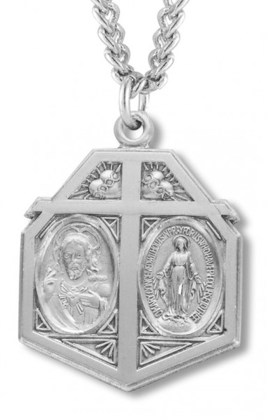 Sacred Heart and Immaculate Heart Pendant - Sterling Silver