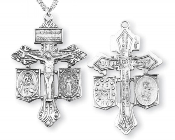 Sacred Heart and Miraculous Crucifix Pendant - Sterling Silver - Silver