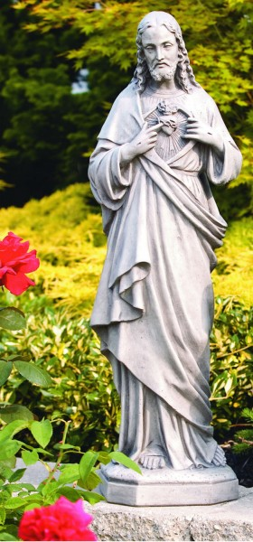 Lovely Sacred Heart Of Jesus Outdoor Statue 33 Inches   Old Stone Finish