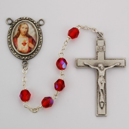 Sacred Heart of Jesus Ruby Glass Rosary - Ruby Red
