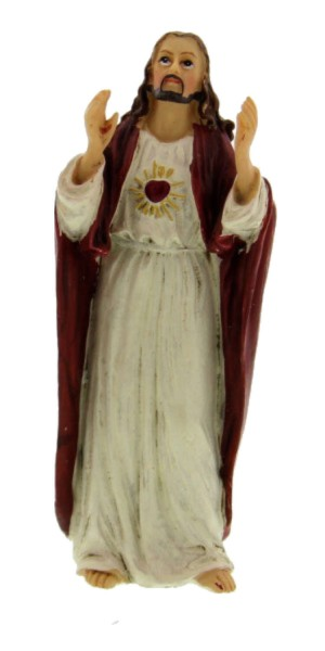 "Sacred Heart of Jesus Statue 3.5"" - Red"