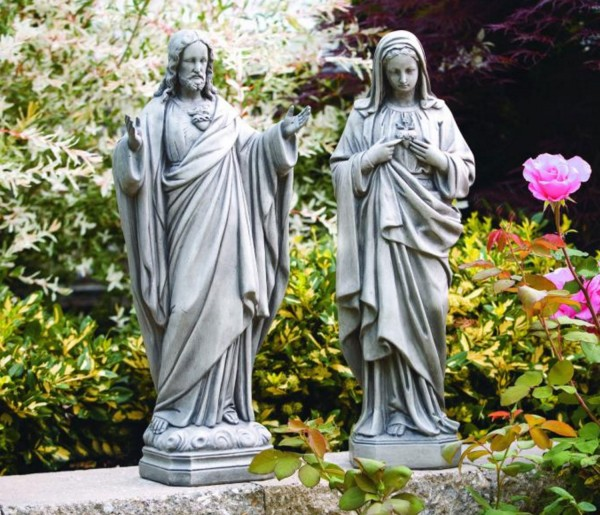 Sacred and Immaculate Heart Statue Set 26 Inches - Old Stone Finish