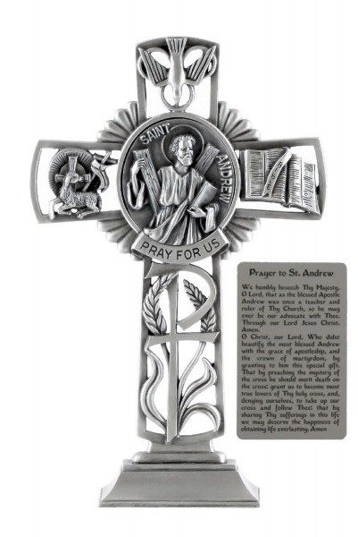 Saint Andrew Standing Cross in Pewter 6 Inches - Pewter
