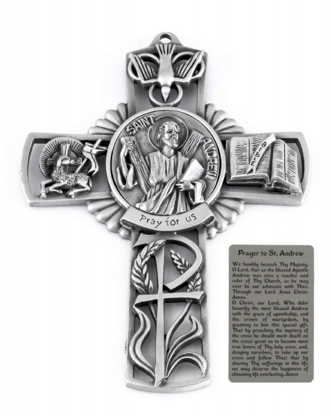 Saint Andrew Wall Cross in Pewter 5 Inches - Pewter