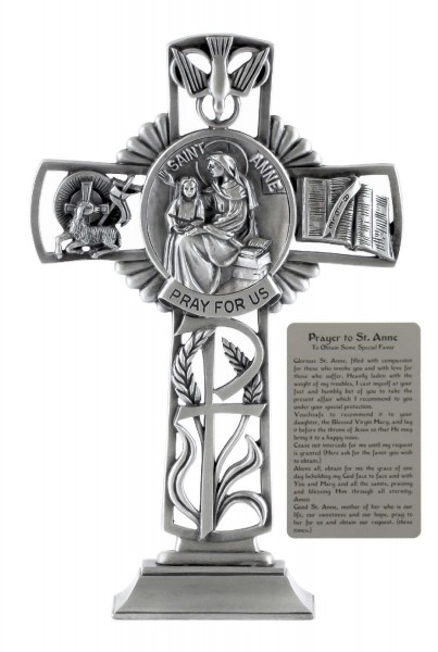 Saint Anne Standing Cross in Pewter 6 Inches - Pewter