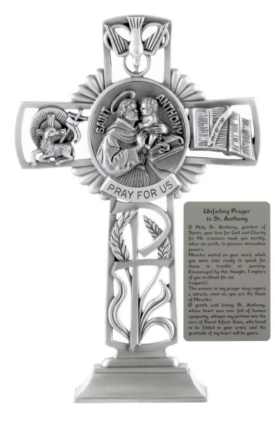 Saint Anthony Standing Cross in Pewter 6 Inches - Pewter