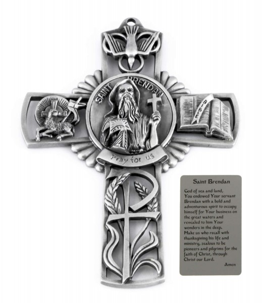Saint Brendon Wall Cross in Pewter 5 Inches - Pewter