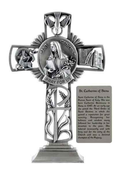 Saint Catherine Of Siena Standing Cross In Pewter 6 Inches