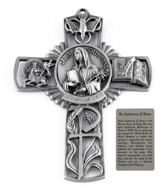 Saint Catherine of Siena Wall Cross in Pewter 5 Inches - Pewter