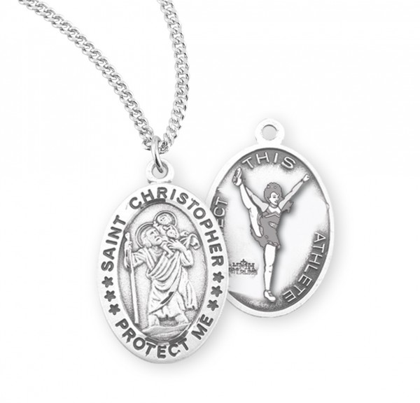 Saint Christopher Cheerleading Athlete Medal - Sterling Silver