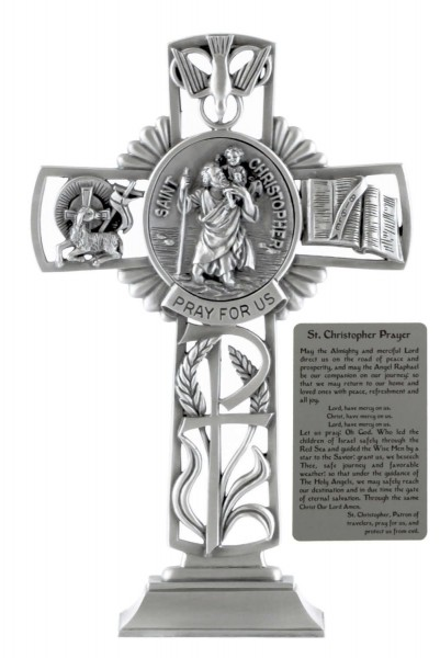 Saint Christopher Standing Cross in Pewter 6 Inches - Pewter