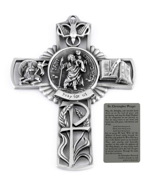 Saint Christopher Wall Cross in Pewter 5 Inches - Pewter