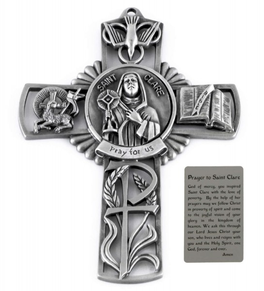 Saint Clare Wall Cross in Pewter 5 Inches - Pewter