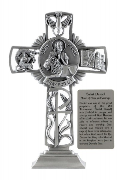 Saint Daniel Standing Cross in Pewter 6 Inches - Pewter