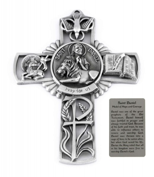 Saint Daniel Wall Cross in Pewter 5 Inches - Pewter