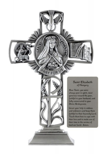 Saint Elizabeth of Hungary Standing Cross in Pewter 6 Inches - Pewter