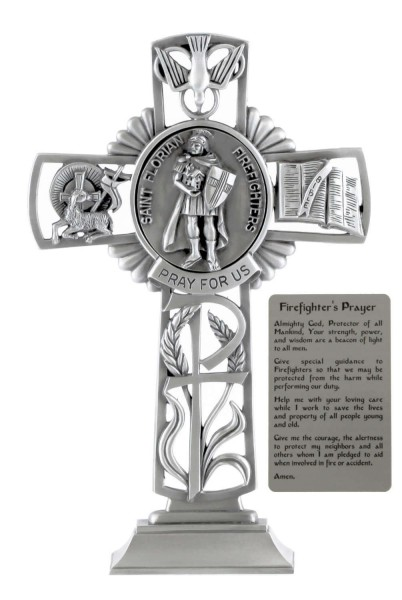 Saint Florian Firefighters Standing Cross in Pewter 6 Inches - Pewter