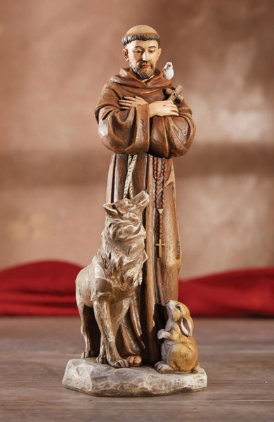 Saint Francis with Animals 8 Inch High Statue - Full Color