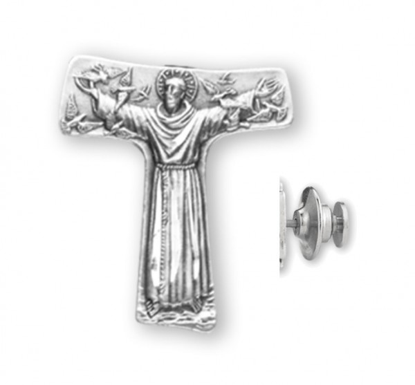 Saint Francis Tau Cross Lapel Pin Sterling Silver - Sterling Silver