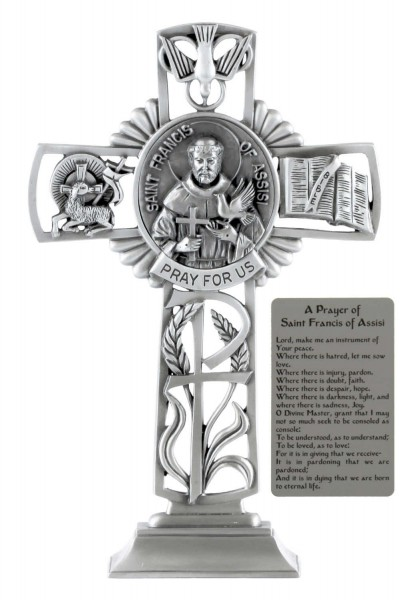 Saint Francis of Assisi Standing Cross in Pewter 6 Inches - Pewter