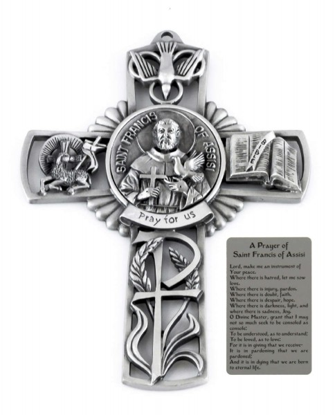 Saint Francis of Assisi Wall Cross in Pewter 5 Inches - Pewter