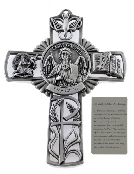 Saint Gabriel Wall Cross in Pewter 5 Inches - Pewter