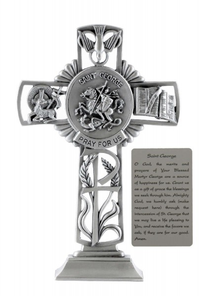 Saint George Standing Cross in Pewter 6 Inches - Pewter