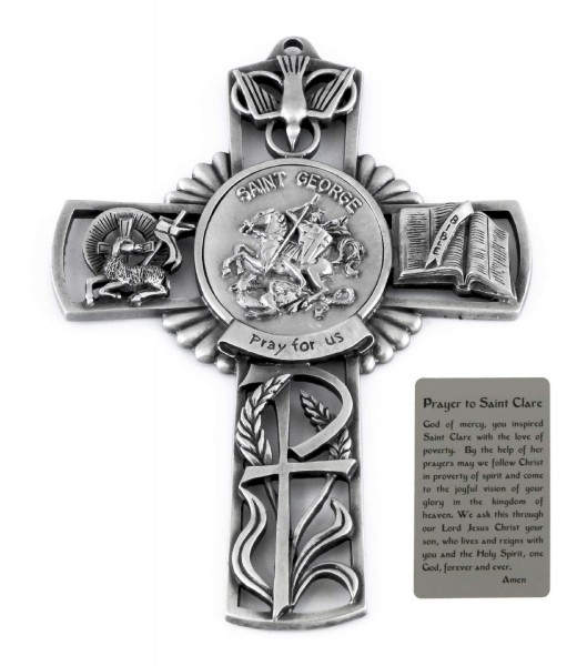 Saint George Wall Cross in Pewter 5 Inches - Pewter